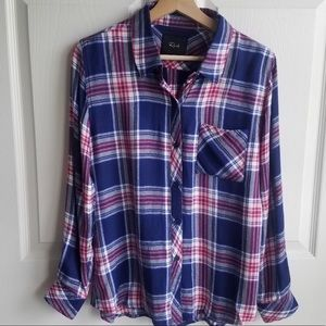 Rails Navy Rouge Plaid Hunter Shirt Top Size Small